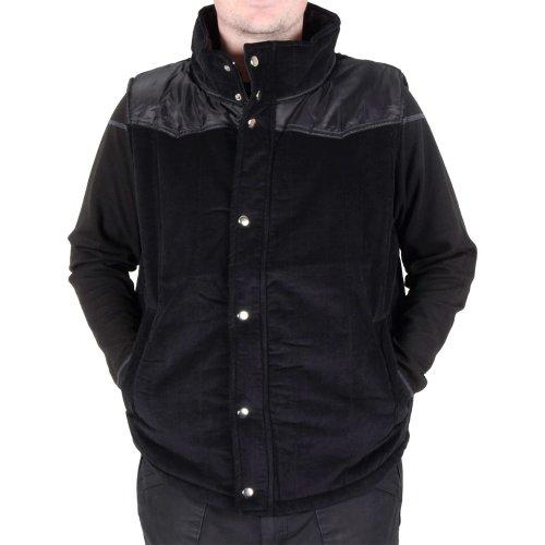 Mens Black Padded Funnel Neck Cordeuroy Gilet Bodywarmer Jacket With Zip Large