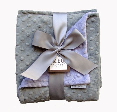 MEG Original Lavender & Gray Minky Dot Baby Girl Blanket