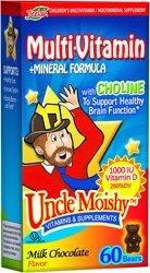 "Uncle Moishy Kosher Children""S Multi-Vitamin+Mineral Formula With Choline And 1-000 Iu Vitamin D - Milk Chocolate Dairy Cholov Yisroel 60 Bears"