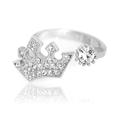 High Gloss Silver Plated 5 Star Crown Ring with Free Gift Box