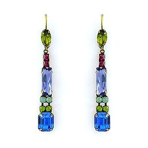 Jewel Tone Crystal Drop Earrings