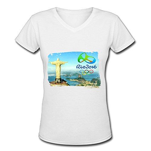 Women's White V Neck T Shirt Rio 2016 Summer Olympic Games Poster