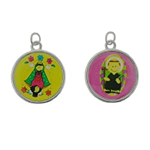 "Children's Religious Medals - Our Lady of Guadalupe and St. Benedict Medals with Prayers on Back - ""Virgencita de Guadalipe - Cuida muche a mis amiges y amigas!!"" and ""San Benite Protegeme de la mala vibral plis"" - Set Includes 2 Medals and One Chain"