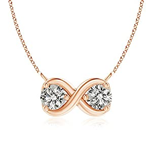 Double Diamond Infinity Pendant Necklace Necklace in 14K Rose Gold (Color: K, Clarity: I3, Weight: 0.5ctwt)