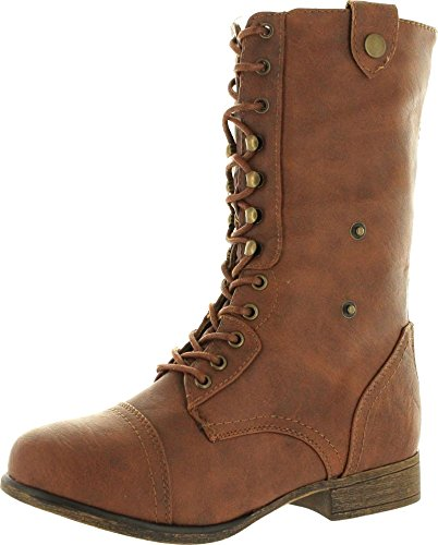Womens-Military-Lace-up-Fold-able-Ankle-Bootie-Mid-Knee-Combat-Boots