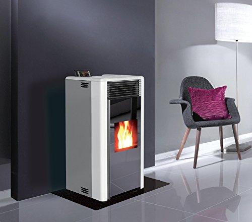 Moderner-Pellet-Ofen-mit-lackierten-Metall-Seitenwnden-Frontseite-GLASS-und-Abdeckplatte-aus-Gusseisen-mit-Fernbedienung