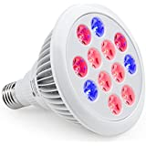 TaoTronics Led Grow light Bulb , Miracle Grow Plant Light for Hydropoics Greenhouse Organic ( E27 12w 3 Bands)
