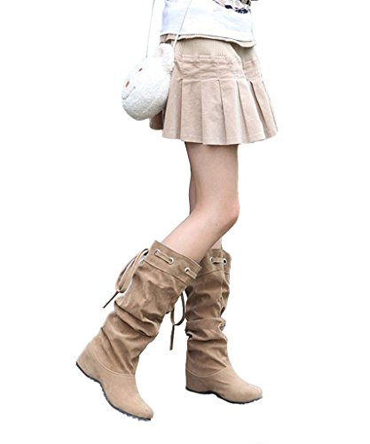 Minetom Donna Neve Stivali Autunno Inverno Calzature Female Moda Flats Half Boots ( Cachi EU 40 )