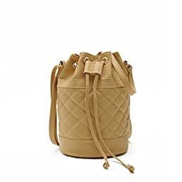 Hoxis Quilted Soft Pebbled Faux Leather Drawstring Bucket Mini Cross Body Shoulder Bag(Khkai)