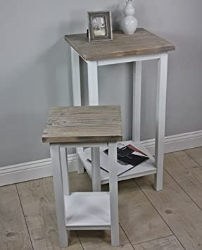 Telefontisch Set Tisch Holz Weiß Antik Landhaus Beistelltisch Massiv Braun  NEU `