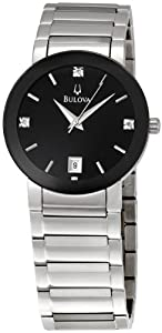 Bulova Diamond Steel Black Mens Watch 96D18