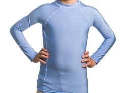 Kid\'s UV Rash Guard Shirts - Long Sleeve (Large, Carolina Blue)
