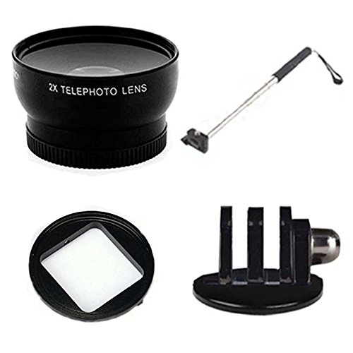 Gopro Mount & Telephoto Lens Bundle With Additional Handheld Extendable Monopod For Gopro 2 3 3+