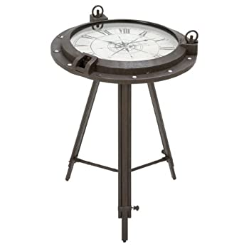 Urban Designs Industrial Porthole Metal Round Clock Coffee & End Table