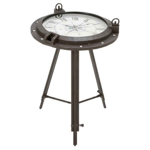 Urban Designs Industrial Porthole Metal Round Clock Coffee & End Table 0