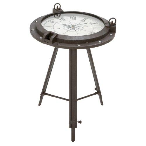 Urban Designs Industrial Porthole Metal Round Clock Coffee & End Table 0