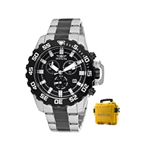 Invicta Men's 13630 Pro Diver Chronograph Black Dial Two Tone Stainless Steel Watch with Yellow Impact Case