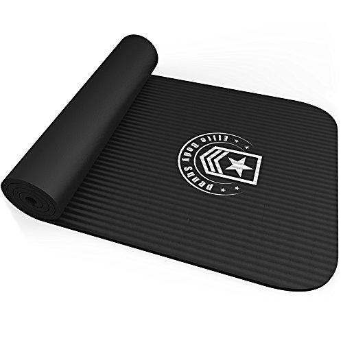 Tappetino esercizi - Elite Body Squad Premium - In gomma NBR di ottima qualità - Spessore di più di 10mm + leggero con comoda maniglia per la spalla - Soddisfazione garantita o rimborso del 100%