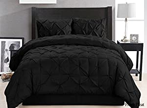 4 Pieces Solid Black Pinch Pleat Goose Down Alternative Comforter Set QUEEN Size Bedding