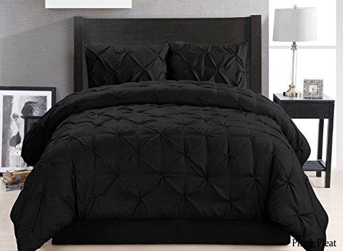 4 pieces solid black pinch pleat goose down alternative comforter set king size ebay. Black Bedroom Furniture Sets. Home Design Ideas