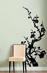 "Vinyl Wall Art Decal Sticker Japanese Flower Floral 46""x21"" #176"