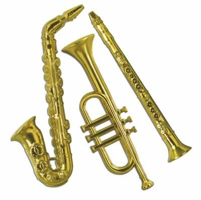 Beistle - 55879-GD - Gold Plastic Musical Instruments- Pack of 12