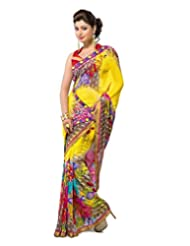FadAttire Georgette Chiffon Printed Saree With Blouse FAPKS21