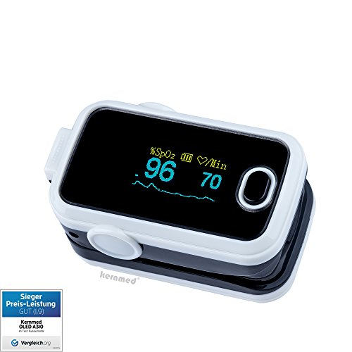 Kernmed OLED Finger Pulsoximeter A310 weiß +Alarm+Signalton+Zub. Oxymeter