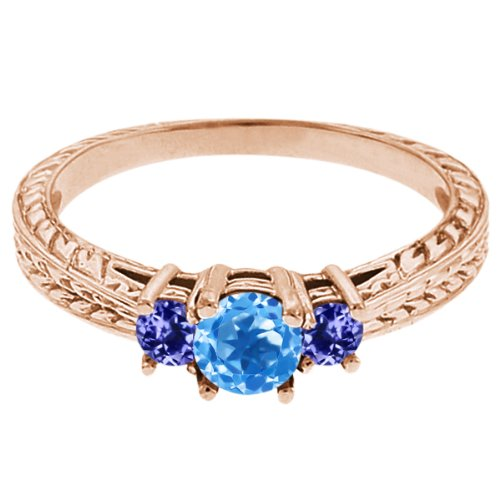 0.57 Ct Round Swiss Blue Topaz Blue Tanzanite 18K Rose Gold 3-Stone Ring
