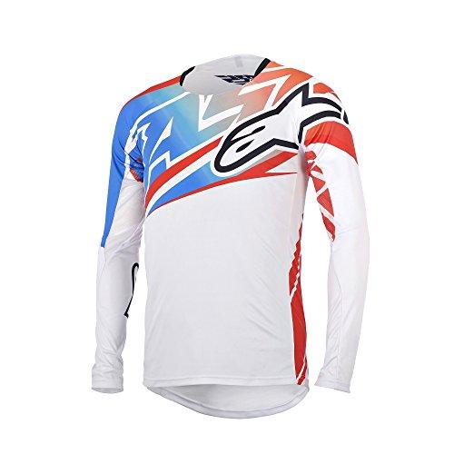 Alpinestars Boy'S Sight Long Sleeve Jersey, Large, White/Red/Electric Blue