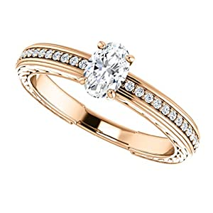 18K Rose Gold Oval Cut Diamond Engagement Ring