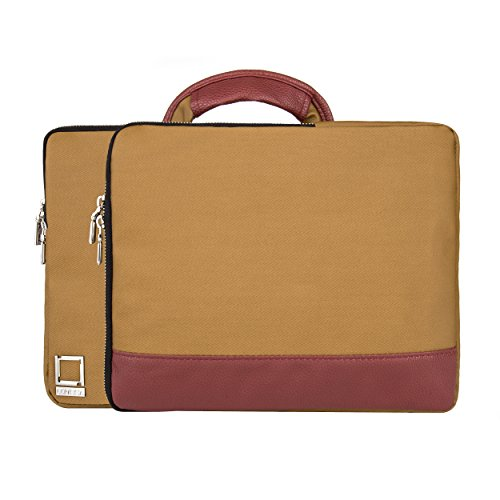 lencca-divisio-tan-wine-twill-carrying-case-with-handle-for-dell-inspiron-latitude-xps-chromebook-11