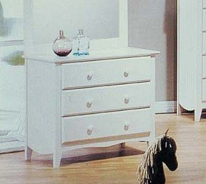 White Finish Wood Bedroom Storage Dresser w/3 Drawers