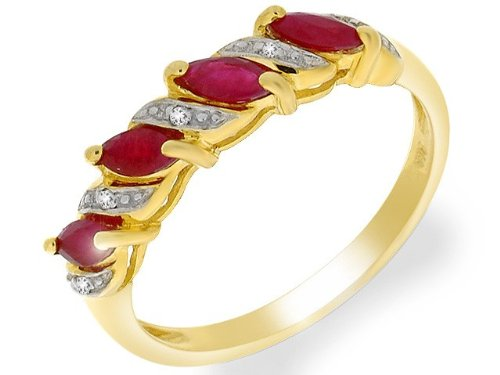 9ct Yellow Gold 0.55ct Ruby & Diamond Half Eternity Ring