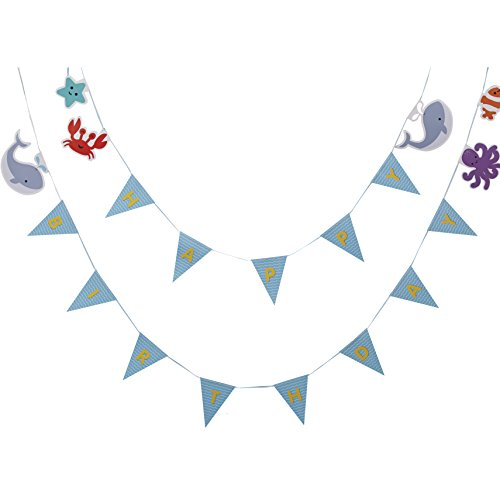 Ginger Ray Happy Birthday Sea Themed Party Bunting - Under The Sea - 1
