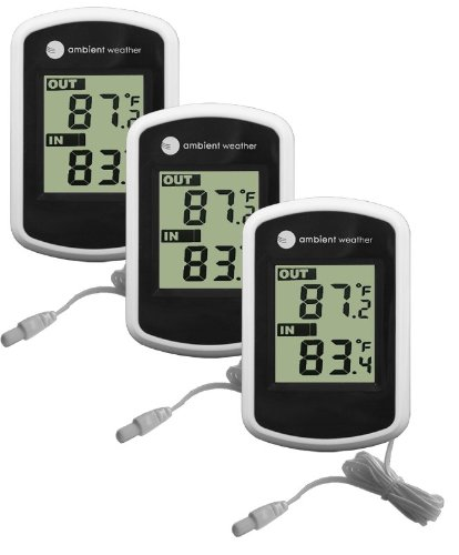 Ambient Weather WS-02 Compact Indoor/Outdoor Thermometer with Probe, 3-Pack