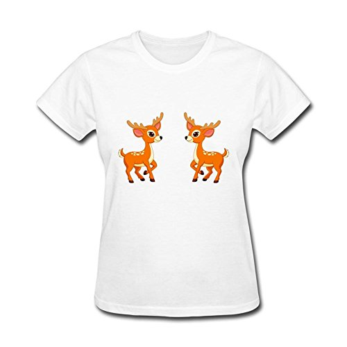 Po tree Women's Cartoon Deer T-shirt White XXL