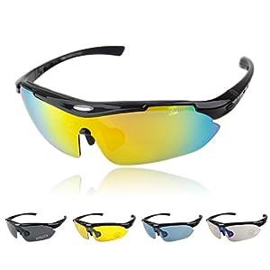 ISOLEM® Protection 100% UV400 Lunettes de Soleil - Sport - Cyclisme - Ski - Conduite - Moto / Mod- Pêche Lunettes de vélo cyclisme avec polariseur Échangeables avec 4 verres incassables