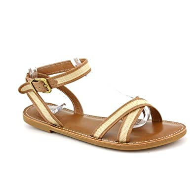 Lucky Brand Candra Ankle-Strap Flats Sandals (9, Natural)