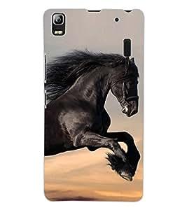 ColourCraft Magnificent Horse Design Back Case Cover for LENOVO A7000 PLUS