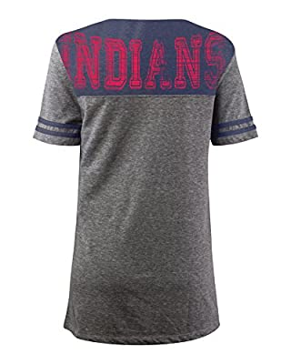 MLB Cleveland Indians Oversized Top with Contrast Yoke and Split Henley