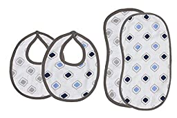 Bacati Moroccan Tiles Muslin 4 Piece Set of Burpies or Bibs, Blue/Grey