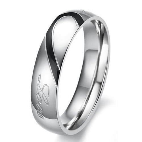 Men - Size 10 - KONOV Jewelry Mens Womens Heart Stainless Steel Promise Ring Couples Wedding Bands