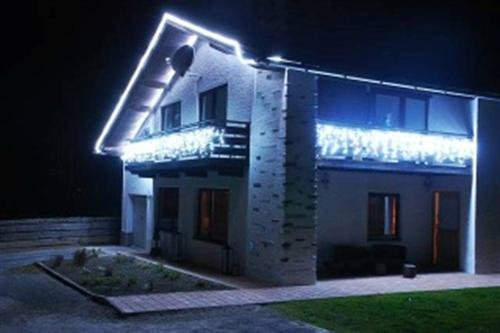 38 LED Lichterkette Weiß (Kaltweiß) Koppelbar Lichtervorhang Eiszapfen Eisregen (1,0 x 0,5 m + 1,5m Zuleitung) - für Innen und Außen