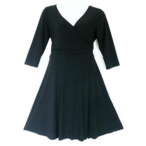 8806 - Plus Size V-Neck 3/4 Sleeves Wrap Evening Office Dress Black (2X)