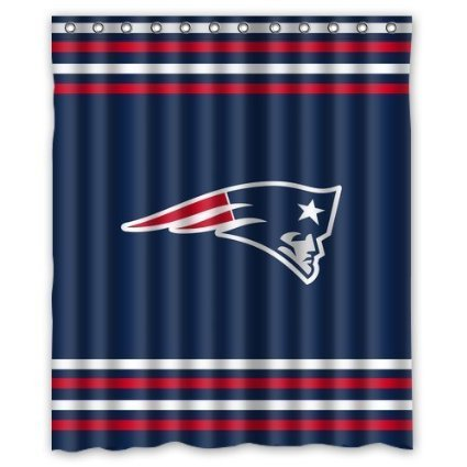 Custom NFL New England Patriots Waterproof Polyester Shower Curtain 60x72