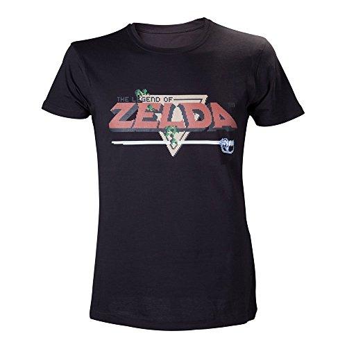 Nintendo - Legend of Zelda - Maglia a maniche corte Uomo, motivo: Logo pixelato, L, colore: Nero