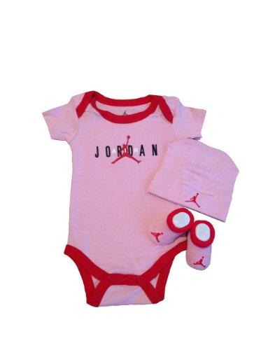 Nike Michael Jordan Infant New Born Baby Lap Shoulder Bodysuit, Booties and Cap; 0-6 Months; 3 PCS Set; Plus a Free Gift Cellphone Anti-dust Plug