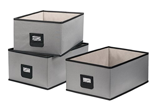 StorageManiac Pack of 3 Large Polyester Canvas Storage Bin, Durable Open Storage Drawer, Gray (Canvas Storage Bins compare prices)
