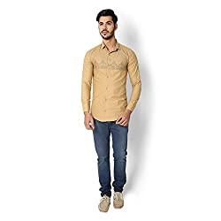STRAK Mens' Pure Cotton Beige Abstract Dotted Designer Apple Cut Style Shirt With Full Sleeve Size:-M/40